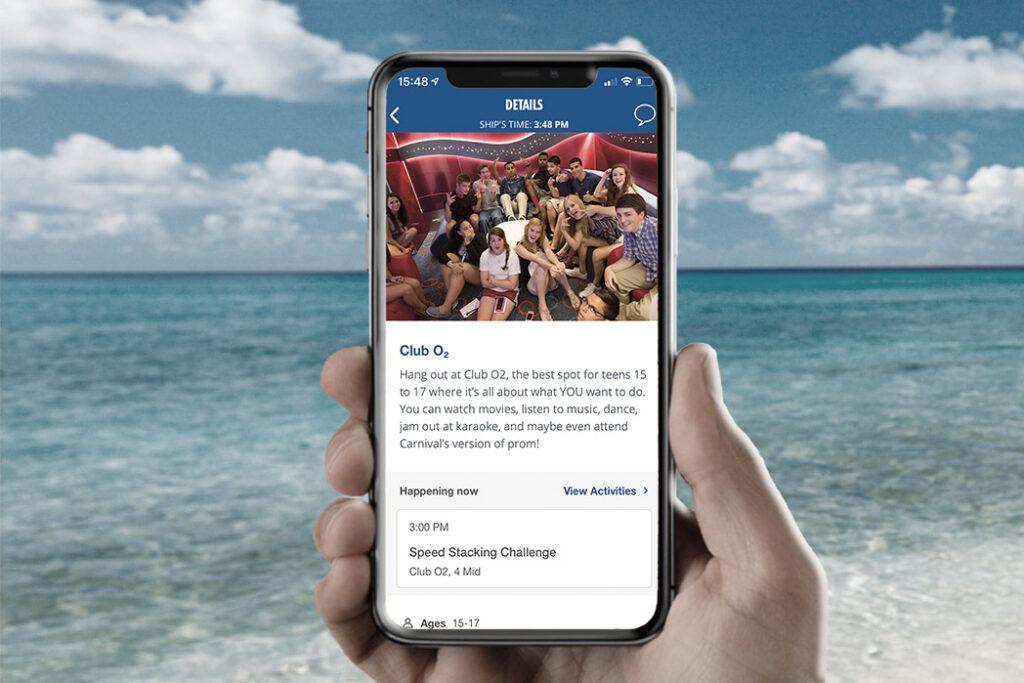 Carnival HUBB-App bieten Orientierung zum Unterhaltungsangebot an Bord.